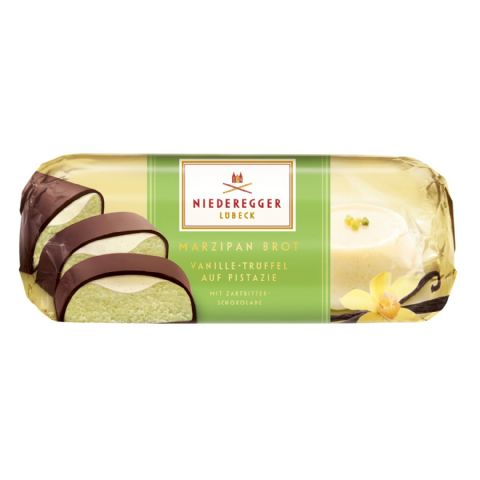 Vanilla Truffle Filled Dark Chocolate Covered Pistachio Marzipan NIEDEREGGER Bar Loaf 75g